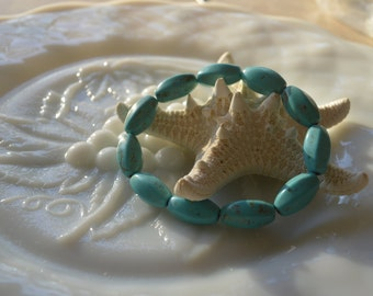 Turquoise howlite stacking stretch bracelet, fits most wrists