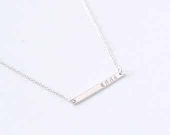 Personalized Sterling silver Bar necklace - skinny bar necklace - engraved necklace - minimalist necklace - handstamped jewelry - no. 1