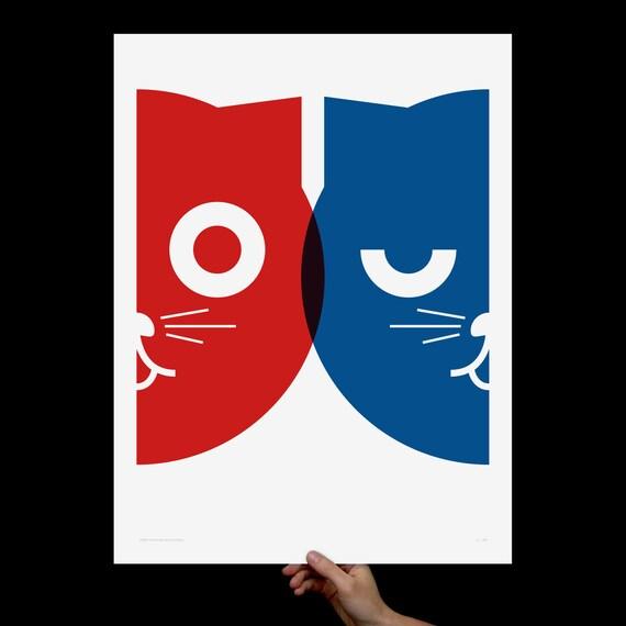 Dueling Watson the Cat, Art Print, Screenprint, Cat Art, Print, Poster, Nursery Art, Pop Art, Wall Art, Kids Room, Living Room, Red & Blue