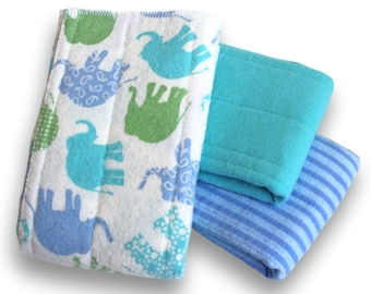Medium Prefold Cloth Diapers. Reusable Cotton Flannel Baby Nappy. Blue Burp Cloths. Changing Pads. Trifold Soaker Booster Inserts With Zorb
