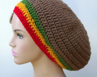 Brown slouchy hat with Rasta stripes Beret Tam Dreadlock Hippie Hat slouchy beanie dreads, slouchy beanie