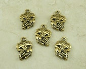 5 TierraCast Catrina Charms > Day of the Dead Sugar Skull Skeleton Halloween 22kt Gold Plated Lead Free Pewter - I ship Internationally 2319