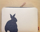 "Laptop Case - 13"" MacBook, MacBook Pro or Air - Black Bunny/White Rabbit"