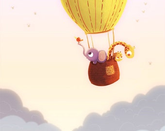 """Birthday Balloon, Hot air balloon, Baby Card, Children's Card, Happy Art, greeting card - """"Up And Away"""""""
