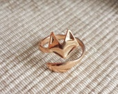 Sweet cute Adjustable fox and tail Ring in rose gold knuckle ring stretch ring today show delicate