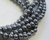 Glass Beads CLOSEOUT SALE (GB132) 4mm Round Silver Metallic Small Glass Beads