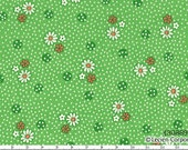 Sale (30) HALF YARD Lecien - Old New 30s Spring 2014 Collection - 30889-60 Green, White and Orange Flowers and Dots on Green - Japanese