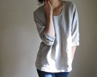 Linen Long Sleeve Blouse, Flax Tunic, Natural Oat, Open Relaxed Shirt, Linen Clothing, Womens Top,  Woven Tee