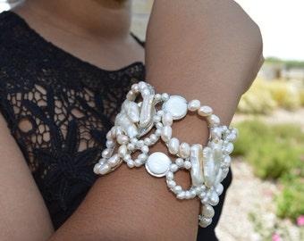 Pearl Wire Wrapped Circle Statement Bracelet - Cuff, Pearl Cuff, Wedding, Jewelry, Bracelet, Bridal Jewelry, Wedding Jewelry