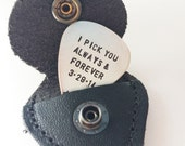 Sterling silver hand stamped guitar pick  with leather keychain case