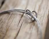 Heart Charm Trio Bangles, textured twisted wire hammered darkened sterling bangles open floating heart layering bracelet set rustic love mom