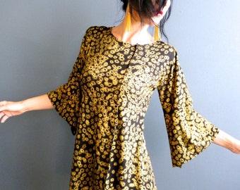 Good Fortune - iheartfink Handmade Hand Printed Metallic Black Gold Art Print Bell Sleeve Womens Jersey Top