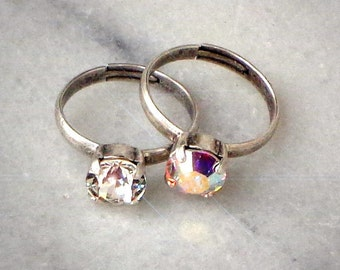 Swarovski  crystal 8mm single stone rings clear crystal and clear crystalAB,antique silver setting