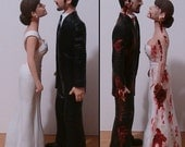 Half Zombie Half Normal Wedding Cake Topper - Unique Design - Made to Look Like Bride & Groom From Your Photos