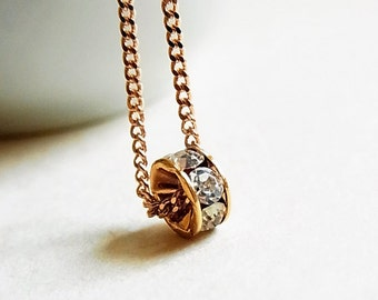 Rose Gold Necklace with Crystal Carousel Charm // Rose Gold Curb Chain