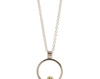 Charming modern mini pendant in silver with gold detail