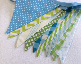 Fabric Flag Bunting, Ready to Ship Prop, Banner. Boy's Surprise Blues and Greens Designer's Choice Banner. Large, Double Sided Flags.
