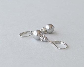 Grey Pearl Earrings, Silver and Pearl Drop Earrings, Gray Pearl Jewelry, Bridesmaid Jewelry, Simple Earrings, Wedding Party Gift, Swarovski