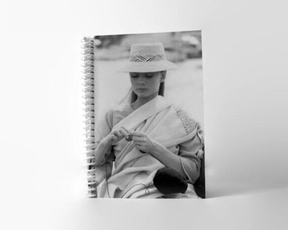 Audrey Hepburn Knitting Spiral Notebook by stationeryCiaffi