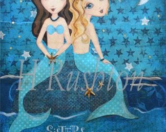 Mermaid Painting -Children Decor-  Mixed Media Art- Mermaid Art- Sisters Art Print- 8x10 and 5x7
