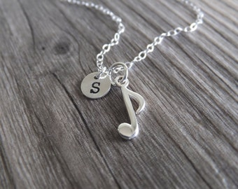 Musical Eighth Note Charm Jewelry Necklace - Personalized Necklace - Sterling Silver Jewelry