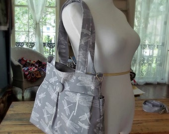 Grey Market Bag - Dragonfly Fabric Bag - 5 Pockets - Removeable Strap