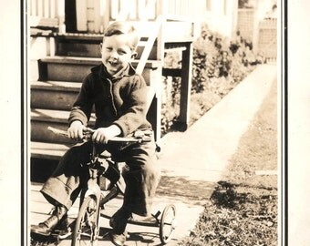 vintage photo Little Boy in his Tricycle Bike in Yard 1939