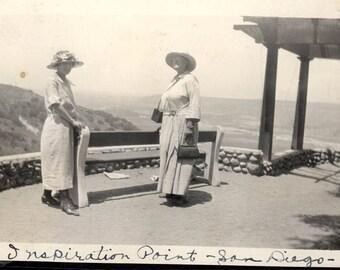 vintage photo 2 Women Inspiration Point san Diego CA 1925 w camera