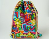 Multi Color Groovy Drawstring Bag, children crayons bag, kids storage bag, drawstring fabric bag, traveling packing bag, reusable fabric bag