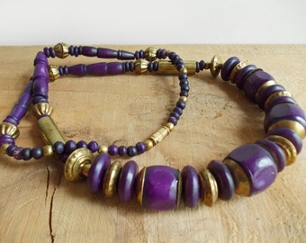 India Brass & Bone Necklace. Purple, Gold Beaded Necklace, Chunky Necklace, Brass Beads. Bohemian Statement Necklace. Vintage Jewelry.
