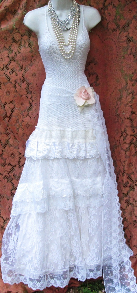 Boho Lace Wedding Dress Etsy : White wedding dress boho mermaid crochet lace vintage beaded tulle