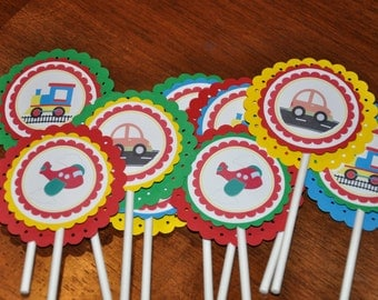 Transportation Party. Cupcake Toppers. Car. Train. Plane. Set of 12. Wheels.