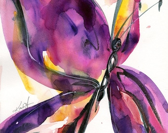 """Pink Butterfly Painting, Abstract Watercolor, Art, Original Contemporary Art ooak """"Butterfly Song 51"""" painting by Kathy Morton Stanion  EBSQ"""