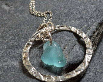 ETERNAL - Sea Glass STERLING Silver Circle NECKLACE