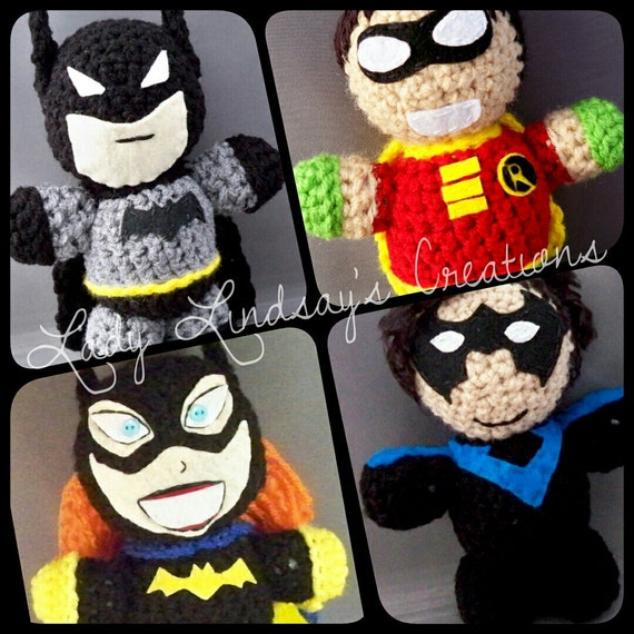 Gotham City amigurumi SET! Batman, Robin, Batgirl, Nightwing