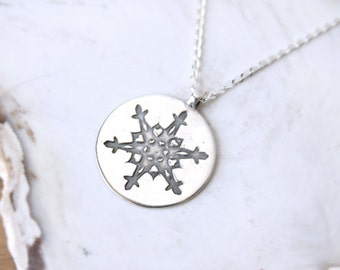 Snowflake Necklace sterling chain unique handmade recycled Fine Silver circle winter pendant cut paper snowflake