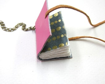 Blank Pink Leather Book Necklace / Jewelry / Mini Diary / hand made