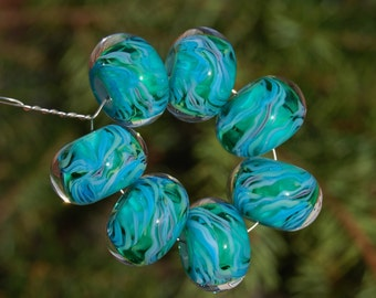 Tropical Scents - Set of 7 Encased Lampwork Beads - Dan O Beads