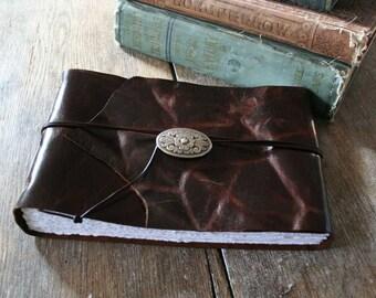 "Leather Sketchbook / Wedding Guestbook . 5.5""x8.75"" . Handmade Handbound . distressed dark brown (320pgs)"