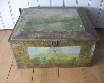 Beech-Nut Large Advertising Tin Box with Lithograph Scenes