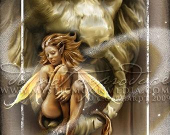 Leo ... ZODAIC Fairy Fantasy Art...Lion... Fairy Art... Bold Fire Yellow Fairy