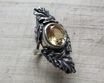 SALE Citrine and Sterling- The Oak Leaf Ring