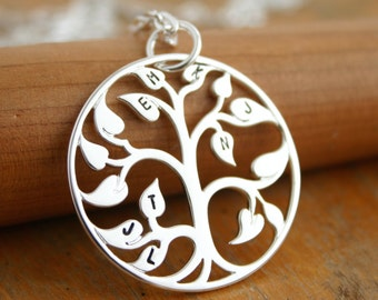 Family tree necklace with initials, stamped personalized jewelry, Mothers Necklace Tree of Life Pendant, Mothers Day Gift for mom