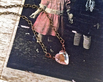 Petite amour. petite,vintage glass ,pink heart necklace. Tiedupmemories