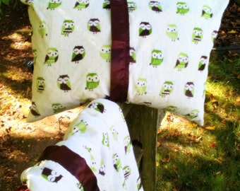 Pillow case, sham: Minky travel pillow 14 x 20 inch. Feathery green owl with satin trim