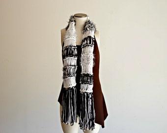 Black White Black Striped Scarf, Black and White Fashion, Black and White Striped Scarf Knit Black White Striped Scarf
