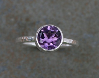 Purple Amethyst Statement Ring, Sterling Silver Faceted Gemstone Violet 8mm Jewel, Stacking or Solitaire, Hammered Band, February Birthstone