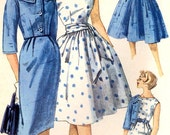 Rockabilly dress pattern or slim wiggle dress jacket and sash diy wedding bridesmaid dress vintage sewing pattern Simplicity 3340 Bust 32