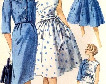 Rockabilly dress pattern or slim wiggle dress jacket and sash diy wedding bridesmaid dress vintage sewing pattern Simplicity 3340 Bust 32