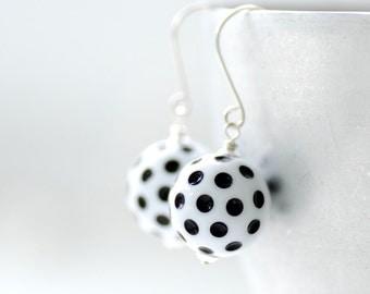 Black and White Earrings, Polka Dot Earrings, Lucite Earrings, Summer Jewelry, Polkadot Jewelry, Fun Earrings, Dangle Earrings